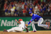 Adrian Beltre #29 of the Texas Rangers slides safely into second base against Troy Tulowitzki #2 of the Toronto Blue Jays in the fourth inning at Globe Life Park in Arlington on June 19, 2017 in Arlington, Texas.