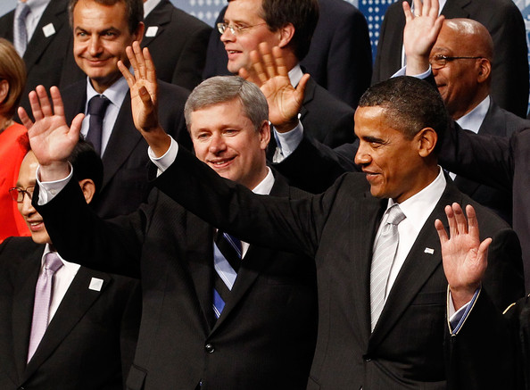 "Barack Obama U.S. President Barack Obama (R) and Canadia Prime Minister Stephen Harper (C) pose with other leaders from around the world for the G20 Summit ""family photograph"" June 27, 2010 in Toronto, Canada. The leaders in attendance include Obama, Harper, French President Nicolas Sarkozy, German Chancellor Angela Merkel, Italian Prime Minister Silvio Berlusconi, British Prime Minister David Cameron, Japanese Prime Minister Naoto Kan, European Council President Herman Van Rompuy, European Commission Presiden Jose Manuel Barroso, Ethiopian Prime Minister Meles Zenawi, Egypt Prime Minister Ahmed Nazif, Columbian Presiden Alvaro Uribe, Haitian President Rene Garcia Preval, Jamaican Prime Minister Bruce Golding, Chinese President Hu Jintao, Indonesian President Susilo Bambang Yudhoyono, Malawian President Bingu Wa Mutharika, King Abdullah of Saudi Arabia, Mexican President Felipe Calderon, Argentinian President Cristina Fernandez de Kirchner, South Korean President Lee Myung-bak, South African President Jacob Zuma, Ethiopian Prime Minister Ato Meles Zenawi, Netherlands Prime Minister Jan Peter Balkenende, Turkish Prime Minister Recep Tayyip Erdogan, Spanish Prime Minister Jose Luis Zapatero, Indian prime minister Manmohan Singh, Vietnamese Prime Minister Nguyen Tan Dung, Australian Prime Minister Julia Gillard, United Nations Secretary-General Ban Ki-Moon, International Labour Organization Director General Juan Somavia, World Bank President Robert Zoellick, International Monetary Fund Managing Director Dominique Strauss-Kahn, Organization for Economic Cooperation and Development Secretary General Angel Gurria, World Trade Organization Director General Pascal Lamy and Financial Stability Board Chairperson Mario Draghi."