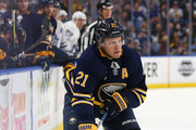 Kyle Okposo #21 of the Buffalo Sabres during the game against the Toronto Maple Leafs at KeyBank Center on March 5, 2018 in Buffalo, New York.