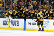 Marcus Johansson #90 of the Boston Bruins celebrates with teammates after scoring a goal against the Toronto Maple Leafs during the first period Game Seven of the Eastern Conference First Round during the 2019 NHL Stanley Cup Playoffs at TD Garden on April 23, 2019 in Boston, Massachusetts.