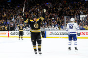 Marcus Johansson #90 of the Boston Bruins celebrates after scoring a goal against the Toronto Maple Leafs during the first period Game Seven of the Eastern Conference First Round during the 2019 NHL Stanley Cup Playoffs at TD Garden on April 23, 2019 in Boston, Massachusetts.