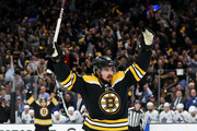 Marcus Johansson #90 of the Boston Bruins celebrates after scoring a goal against the Toronto Maple Leafs during the first period of Game Seven of the Eastern Conference First Round during the 2019 NHL Stanley Cup Playoffs at TD Garden on April 23, 2019 in Boston, Massachusetts.