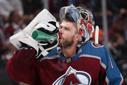 Goaltender Semyon Varlamov #1 of the Colorado Avalanche drinks water during a break in the action against the Toronto Maple Leafs at the Pepsi Center on December 29, 2017 in Denver, Colorado.