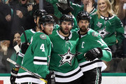 (L-R) Miro Heiskanen #4, Alexander Radulov #47 and Jamie Benn #14 of the Dallas Stars celebrate a goal in the first period against the Toronto Maple Leafs at American Airlines Center on October 9, 2018 in Dallas, Texas.