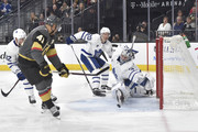 Pierre-Edouard Bellemare #41 of the Vegas Golden Knights scores a goal against (L-R) Josh Leivo #32, Dominic Moore #20, and Frederik Andersen #31 of the Toronto Maple Leafs during the game at T-Mobile Arena on December 31, 2017 in Las Vegas, Nevada.
