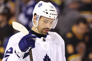 Tomas Plekanec #19 of the Toronto Maple Leafs reacts during the third period against the Boston Bruins in Game Seven of the Eastern Conference First Round in the 2018 Stanley Cup play-offs at TD Garden on April 25, 2018 in Boston, Massachusetts. The Bruins defeat the Maple Leafs 7-4.