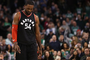 Patrick Patterson #54 of the Toronto Raptors looks on during the fourth quarter against the Boston Celtics at TD Garden on February 1, 2017 in Boston, Massachusetts. The Celtics defeat the Raptors 107-102. NOTE TO USER: User expressly acknowledges and agrees that, by downloading and or using this Photograph, user is consenting to the terms and conditions of the Getty Images License Agreement.