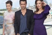 """(From L to R) Actress Jessica Biel, actor Colin Farrell and actress Kate Beckinsale attend the Berlin to photocall for """"Total Recall"""" on the terrace of the China Club on August 13, 2012 in Berlin, Germany."""