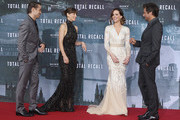 """(From L to R) Actor Colin Farrell, actress Jessica Biel, actress Kate Beckinsale and director Len Wiseman attend the Germany premiere of """"Total Recall"""" at Sony Center on August 13, 2012 in Berlin, Germany."""
