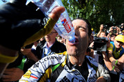 George Hincapie of USA and team Colombia - High Road drinks water after finishing stage 14 of the 2009 Tour de France from Colmar to Besancon on July 18, 2009 in Besancon, France. Hincapie cycled to the third place in the overall standings in stage 14 trailing 5 seconds behind the yellow jersey.