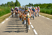 Bernhard Eisel of Austria and Team Columbia HTC leads the pack during stage three of the 2009 Tour de France from Marseille to La Grande Motte on July 6, 2009 in La Grande Motte, France. The stage was won by Mark Cavendish of Great Britain and Team Columbia.