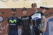 (L-R) Francisco Jose Ventoso of Spain and Team Movistar (second place), Giacomo Nizzolo of Switzerland and Team Trek Factory Racing (first place) and Tom Boonen of Belgium and Team Omega Pharma-Quick Step (third place) pose for a photo after finish the Stage Three of the VIII Tour de San Luis, a 175,8 km road stage from Tilisarao - Juana Koslay on January 22, 2014 in San Luis, Argentina.