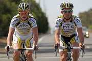 (L-R) Mark Renshaw of Australia and Mark Cavendish of Great Britain of the HTC-Columbia Team take a training ride in preparation for the 2010 Tour of California on May 15, 2010 in Sacramento, California.