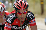 George Hincapie of the BMC Racing Team works in the breakaway as they pass through the Angeles National Forest during stage seven of the 2011 AMGEN Tour of California from Claremont to Mt. Baldy on May 21, 2011 in Los Angeles County, California.