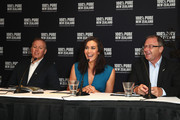 (L-R) Tourism New Zealand general manager; Australia, Tony Saunders, New Zealand tourism ambassador Megan Gale, and Tourism NZ CEO Kevin Bowler field questions during a New Zealand Tourism press conference at Four Seasons Hotel on February 10, 2016 in Sydney, Australia.