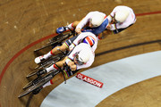 The Great Britain team competes in round one of the Mens Team Pursuit during the track cycling on Day Two of the European Championships Glasgow 2018 at Sir Chris Hoy Velodrome on August 3, 2018 in Glasgow, Scotland.