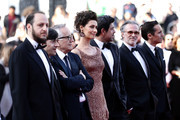 """(L-R) Fausto Russo Alesi, Luigi Lo Cascio, Marco Bellocchio, Maria Fernanda Candido, Pierfrancesco Favino and guests attend the screening of """"The Traitor"""" during the 72nd annual Cannes Film Festival on May 23, 2019 in Cannes, France."""