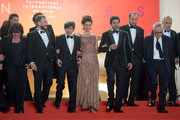 """Luigi Lo Cascio, Maria Fernanda Canido, Pierfrancesco Favino, Fausto Russo Alesi, Marco Bellocchio and the cast and crewattends the screening of """"The Traitor"""" during the 72nd annual Cannes Film Festival on May 23, 2019 in Cannes, France."""