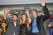 "Shia LaBeouf, Michael Bay and Rosie Huntington-Whiteley attend the ""Transformers: Dark of the Moon"" stage greeting at Osaka Station City Cinema on July 16, 2011 in Osaka, Japan. The film will open on July 29 in Japan."