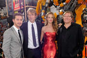 "(L-R) Shia LaBeouf, Michael Bay, Rosie Huntington-Whiteley and producer Lorenzo di Bonaventura attend the New York premiere of ""Transformers: Dark Side Of The Moon"" in Times Square on June 28, 2011 in New York City."