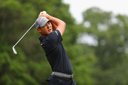 Danny Lee of New Zealand plays his shot from the fifth tee during the third round of the Travelers Championship at TPC River Highlands on June 23, 2018 in Cromwell, Connecticut.