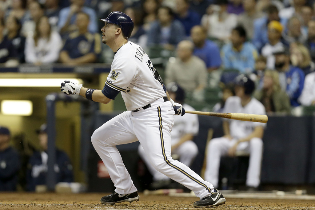 Travis Ishikawa #45 of the Milwaukee Brewers hits a bases clearing double scoring Ryan Braun, Jonathan Lucroy, Carlos Gomez in the bottom of the third inning against the San Diego Padres during the game at Miller Park on October 3, 2012 in Milwaukee, Wisconsin.