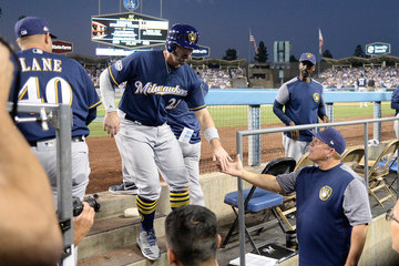 Travis Shaw League Championship Series - Milwaukee Brewers vs. Los Angeles Dodgers - Game Three