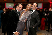(L-R) Lawrence Zarian, Dominique Jackson, and Gregory Zarian attend the Trevor Project's TrevorLIVE LA 2018 at The Beverly Hilton Hotel on December 3, 2018 in Beverly Hills, California.