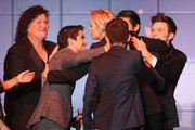 (L-R) Naya Rivera, Dot-Marie Jones, Darren Criss, Jane Lynch, Kevin McHale, Harry Shum, and Chris Colfer onstage at 'TrevorLIVE LA' honoring Jane Lynch and Toyota for the Trevor Project at Hollywood Palladium on December 8, 2013 in Hollywood, California.