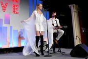 Cara Delevingne and Will Heard perorm onstage during TrevorLIVE NY 2019 at Cipriani Wall Street on June 17, 2019 in New York City.
