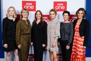 "(L-R) Ellie Bamber, writer Amanda Coe, producer Rebecca Ferguson, Sophie Cookson, exec. producer Kate Triggs and Emilia Fox attend the UK premiere of ""The Trial Of Christine Keeler"" at Content London on December 04, 2019 in London, England."