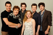(L-R) Actor Robbie Amell, actress Polly Bergenof, actor Roberto Aguire, actress Allie Grant, writer/actor Chris Colfer and actor Carter Jenkins of the film 'Struck by Lightning' visit the Tribeca Film Festival 2012 portrait studio at the Cadillac Tribeca Press Lounge on April 21, 2012 in New York City.