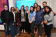 (L-R) Len Amato, LisaGay Hamilton, Fiona Carter, Jane Rosenthal, Carolyn Mao, Kate Tsang, Katie Holmes, Mira Nair, Kal Penn, and Haifaa Al Mansour attend the Tribeca and AT&T Presents: Untold Stories 2019 Luncheon on April 22, 2019 in New York City.