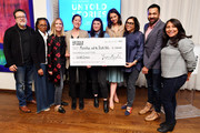 (L-R) Len Amato, LisaGay Hamilton, Fiona Carter, Carolyn Mao, Kate Tsang, Katie Holmes, Mira Nair, Kal Penn, and Haifaa Al Mansour attend the Tribeca and AT&T Presents: Untold Stories 2019 Luncheon on April 22, 2019 in New York City.