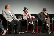 """(L-R) Creator and Executive Producer Matt Groening, actor and voice of multiple characters Harry Shearer, and Executive Producer Matt Selman, speak on stage at """"Tribeca TV: The Simpsons 30th Anniversary"""" during the 2019 Tribeca Film Festival at BMCC Tribeca PAC on April 28, 2019 in New York City."""