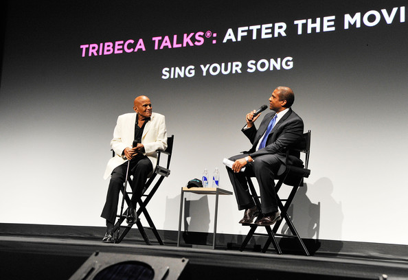 "Harry Belafonte is interviewed by journalist Tavis Smiley at the Tribeca Talk After The Movie ""Sing Your Song"" during the 2011 Tribeca Film Festival at BMCC Tribeca PAC on April 29, 2011 in New York City."
