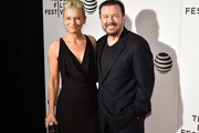 """Jane Fallon (L) and director and writer Ricky Gervais attend the premiere """"Special Correspondents"""" during the 2016 Tribeca Film Festival at BMCC John Zuccotti Theater on April 22, 2016 in New York City."""