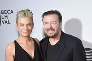 """Jane Fallon and Ricky Gervais attend Tribeca Talks After the Movie: """"Special Correspondents"""" - 2016 Tribeca Film Festival at John Zuccotti Theater at BMCC Tribeca Performing Arts Center on April 22, 2016 in New York City."""