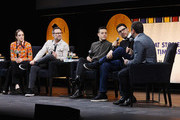 Carly Chaikin, Christian Slater and Rami Malek and Sam Esmail speak at Tribeca Talks - A Farewell To Mr. Robot - 2019 Tribeca Film Festival at Spring Studio on April 28, 2019 in New York City.