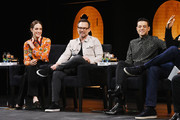 Carly Chaikin, Christian Slater and Rami Malek speak at Tribeca Talks - A Farewell To Mr. Robot - 2019 Tribeca Film Festival at Spring Studio on April 28, 2019 in New York City.