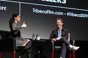 Comedians/actors Sarah Silverman (L) and Mike Birbiglia attend Tribeca Talks - Storytellers - Sarah Silverman With Mike Birbiglia - 2019 Tribeca Film Festival at BMCC Tribeca PAC on April 29, 2019 in New York City.