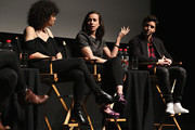 Actress/ writer Ilana Glazer, director Lucia Aniello and actor/ writer Paul W. Downs speak on stage at Tribeca Tune In: Time Traveling Bong during the 2016 Tribeca Film Festival at SVA Theater 1 on April 16, 2016 in New York City.