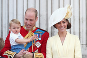 Prince William, Duke of Cambridge, Catherine, Duchess of Cambridge, Prince Louis of Cambridge, Prince George of Cambridge and Princess Charlotte of Cambridge during Trooping The Colour, the Queen's annual birthday parade, on June 8, 2019 in London, England.