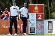 Mikko Ilonen of Finland and Alvaro Quiros of Spain on the 2nd tee during the final round of the Trophee Hassan II at Royal Golf Dar Es Salam on April 22, 2018 in Rabat, Morocco.