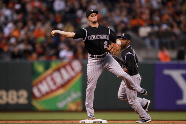 4692c6cd4f4 Troy Tulowitzki Troy Tulowitzki  2 of the Colorado Rockies turns an  unassisted double play to