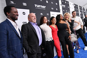(L-R) Harold Perrineau, Dean Norris, Judy Reyes, Karrueche Tran, Niecy Nash Jenn Lyon, Carrie Preston and Jack Kesy of Claws attends the Turner Upfront 2018 arrivals on the red carpet at The Theater at Madison Square Garden on May 16, 2018 in New York City. 376296