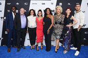 (L-R) Harold Perrineau, Dean Norris, Judy Reyes, Karrueche Tran, Niecy Nash Jenn Lyon, Carrie Preston and Jack Kesy of Claws attend the Turner Upfront 2018 arrivals on the red carpet at The Theater at Madison Square Garden on May 16, 2018 in New York City. 376263