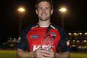 Daniel Harris of the Redbacks poses with the man of the match trophy during the Twenty20 Big Bash match between the Western Australia Warriors and the South Australia Redbacks at the WACA on January 13, 2011 in Perth, Australia.