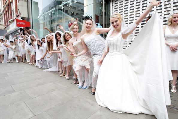 Entertainment One is attempting to set the Guinness World Record for the longest chain of brides in one location - on March 11, 2012 in London, United Kingdom. The event was held to celebrate to celebrate the DVD release of The Twilight Saga: Twilight Breaking Dawn Part 1