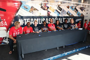 (L-R) Team USA athletes Jesse Smith, Carlin Isles, Katie Lou Samuelson, Kendall Ellis, Alex Bowen, Maggie Steffens, Ashleigh Johnson and Dana Vollmer celebrate the two year countdown to the 2020 Olympic Games in Tokyo at a Youth Sports Clinic at the Japanese American Community Center on July 24, 2018 in Los Angeles, California.